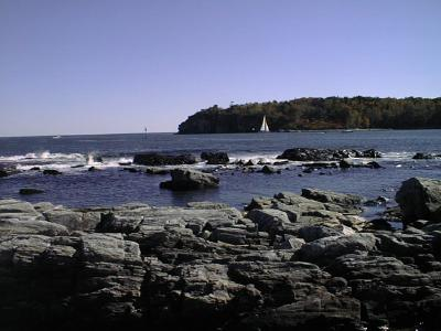 [Maine coast w sailboat]
